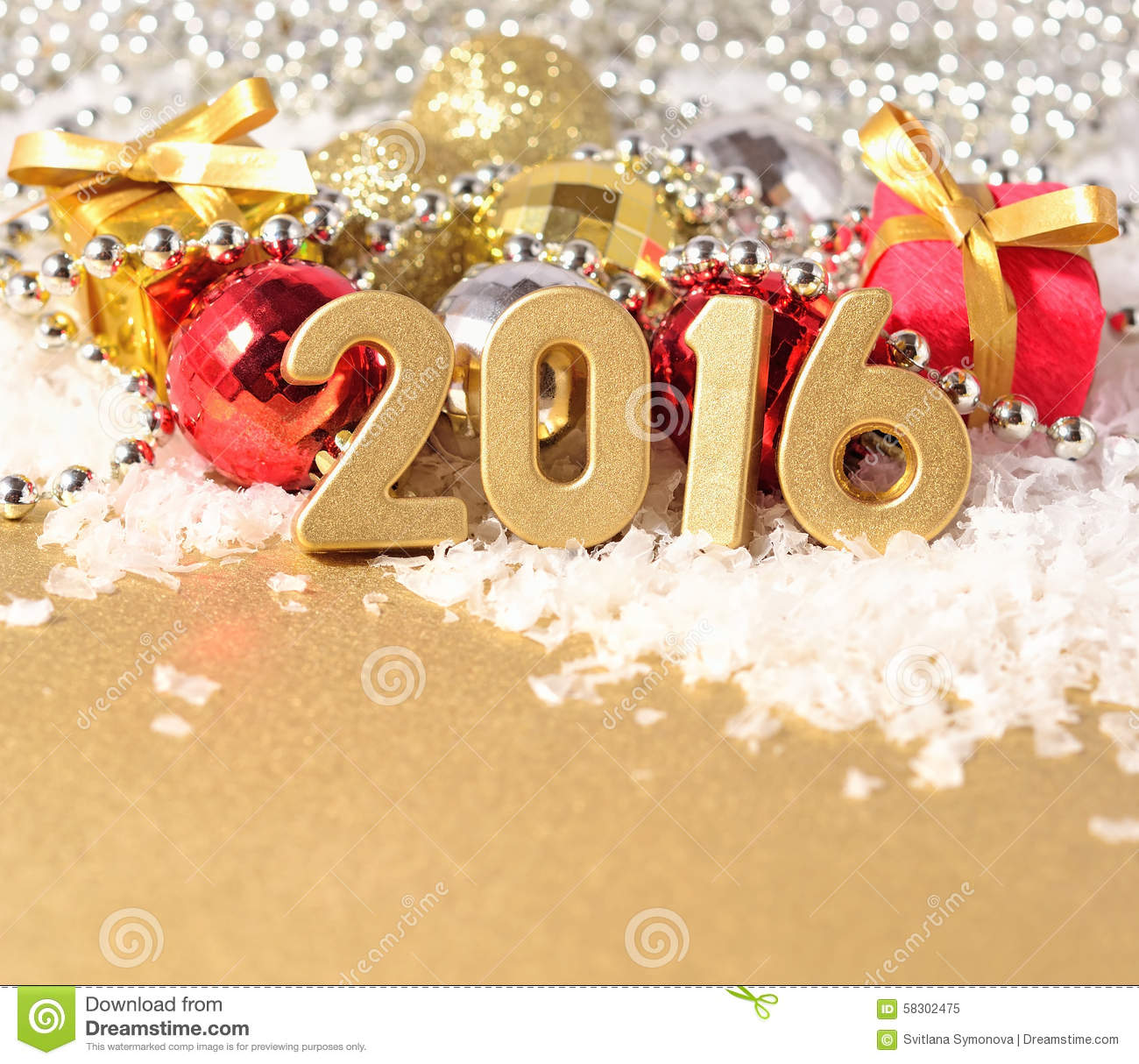 2016 Year Golden Figures And Christmas Decorations Stock Photo - Image ...