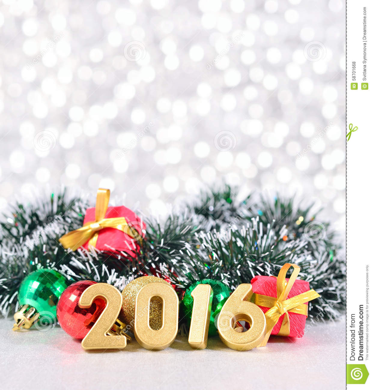 Happy new year 2016 golden silver and red cartoon vector for Christmas decorations 2016