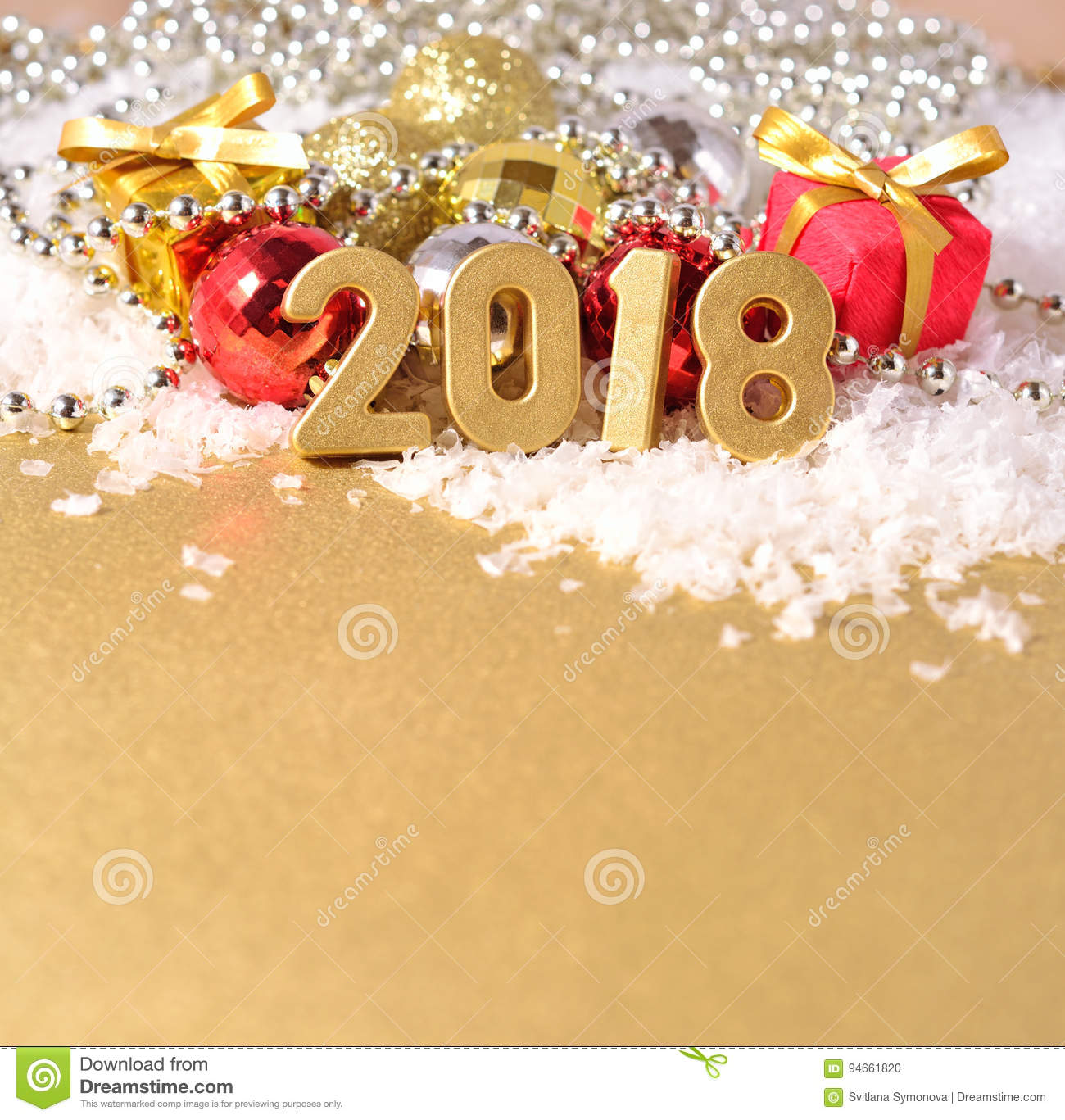 2018 Year Golden Figures And Christmas Decorations Stock Photo ...