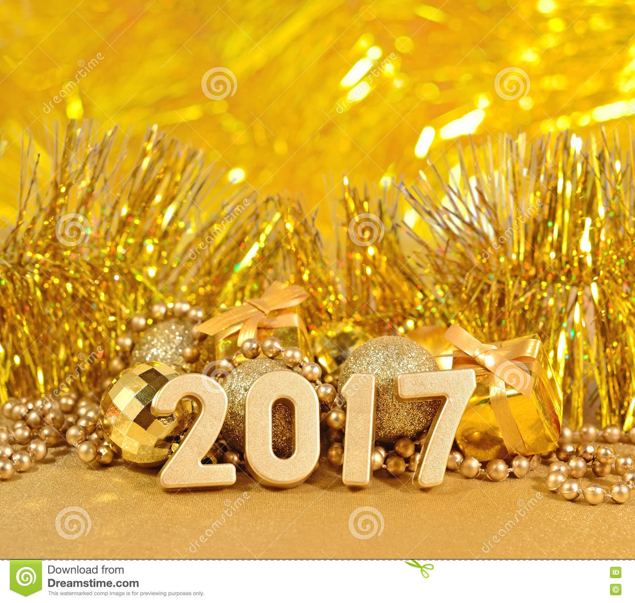 download 2017 year golden figures and golden christmas decorations stock image image of gift
