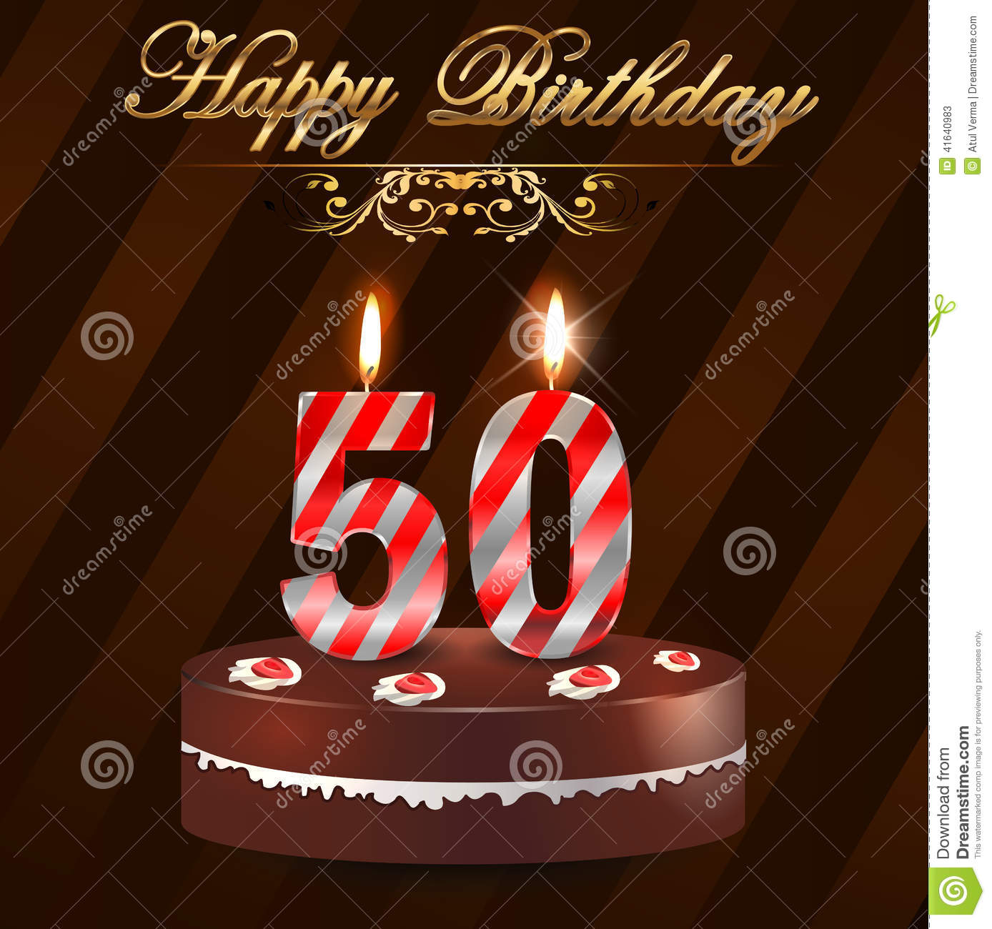 50 Year Happy Birthday Card With Cake And Candles 50th Birthday