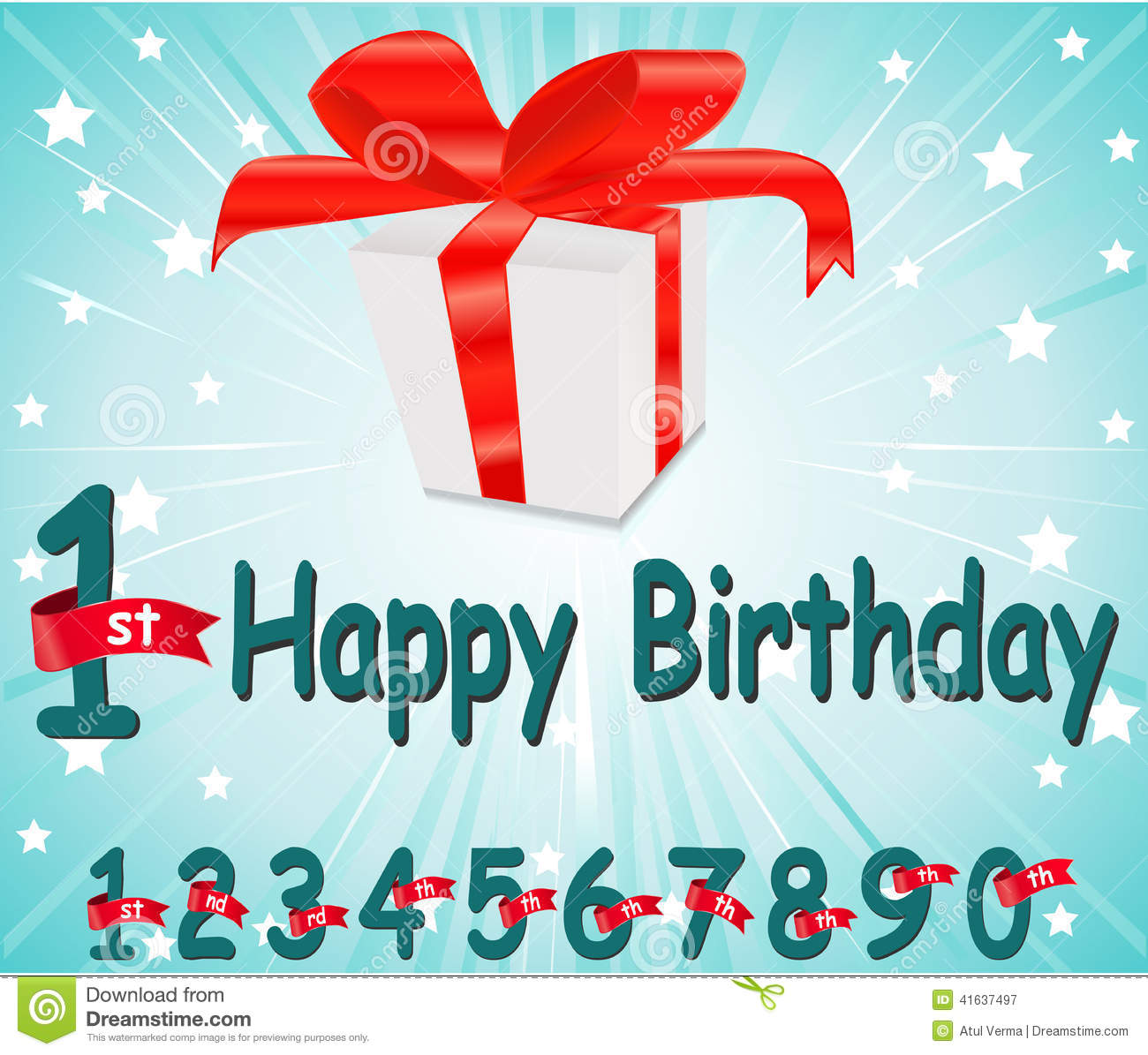 1 Year Happy Birthday Card With Gift And Colorful Background In Vector EPS10