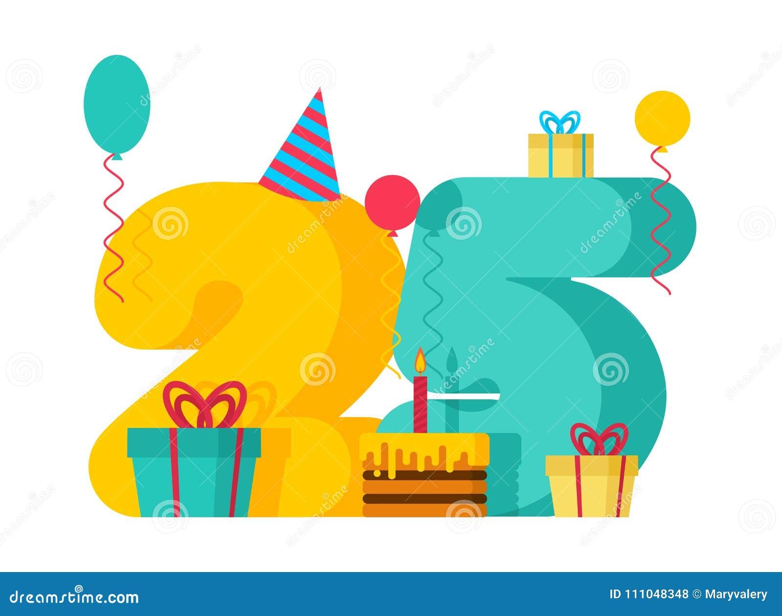 25 Year Happy Birthday Greeting Card 25th Anniversary Celebrati
