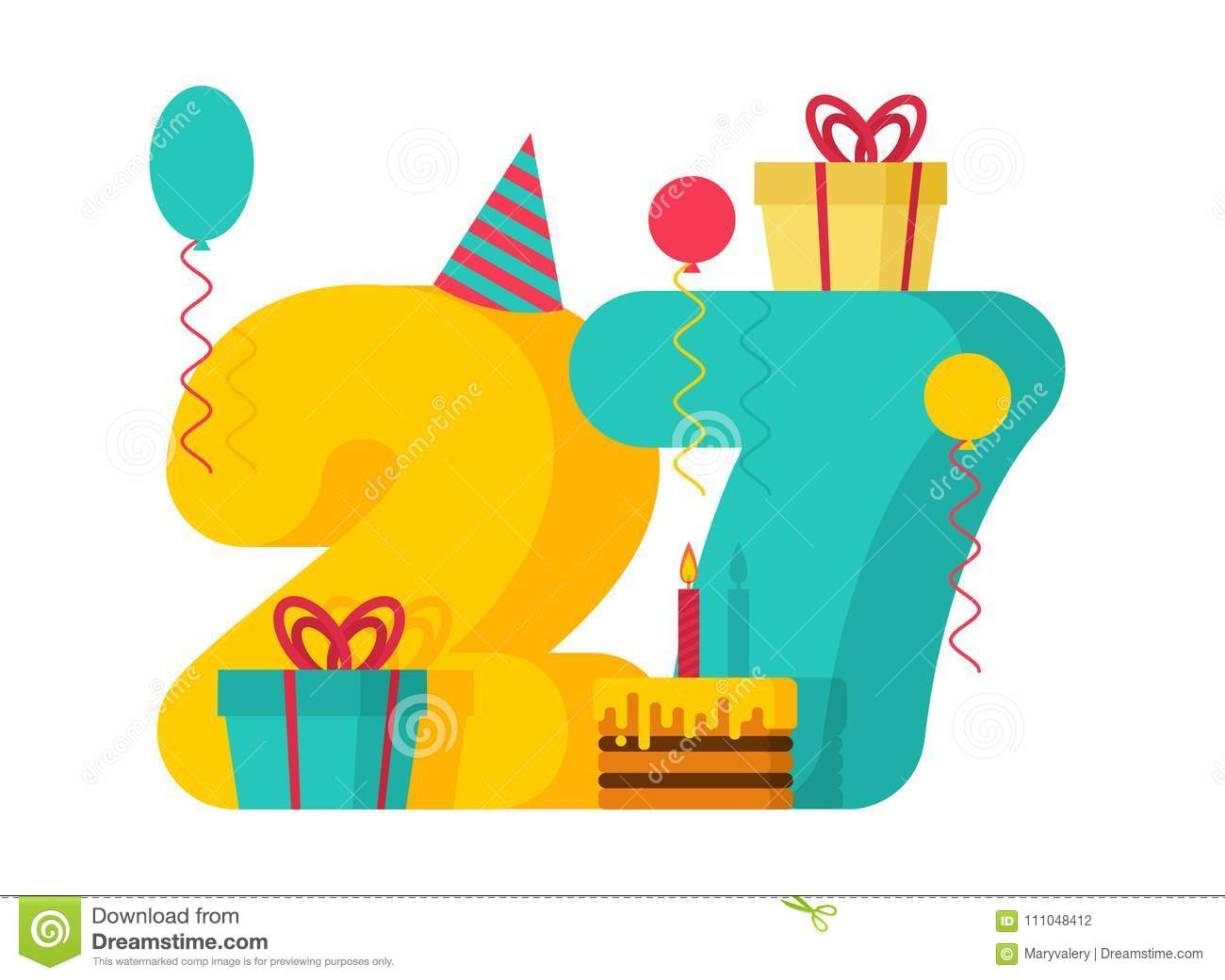 1 year Happy Birthday greeting card. 1th anniversary celebration