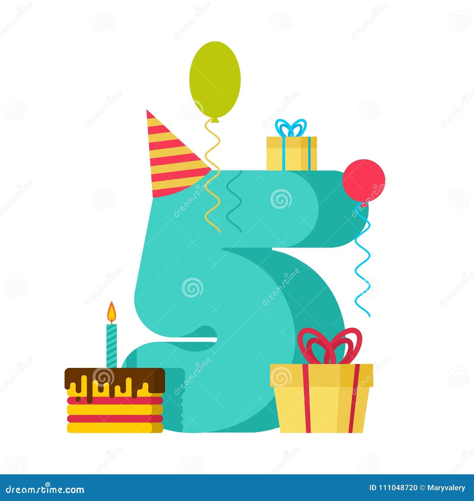 5 Year Happy Birthday Greeting Card 5th Anniversary