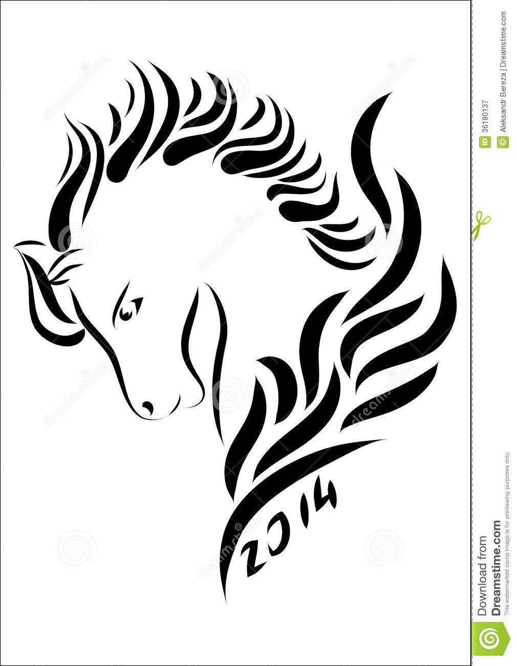 Horse Line Drawing Tattoo : Year of the horse royalty free stock photography image