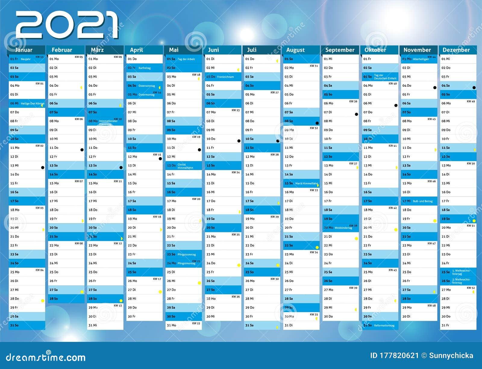 2021 Calendar Germany Planner Pocket Business Year Vector ...
