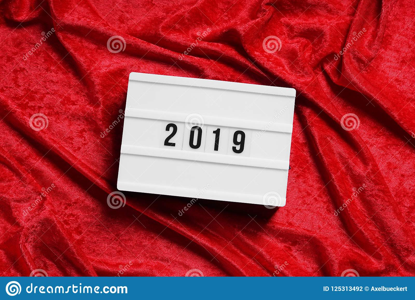 Year 2019 Lightbox On Red Velvet Background Stock Photo Image Of