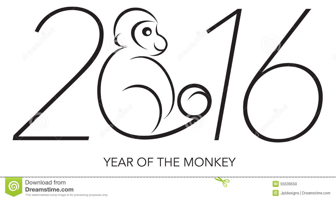 2016 Chines Lunar New Year of the Monkey Black and White Line Art with ...