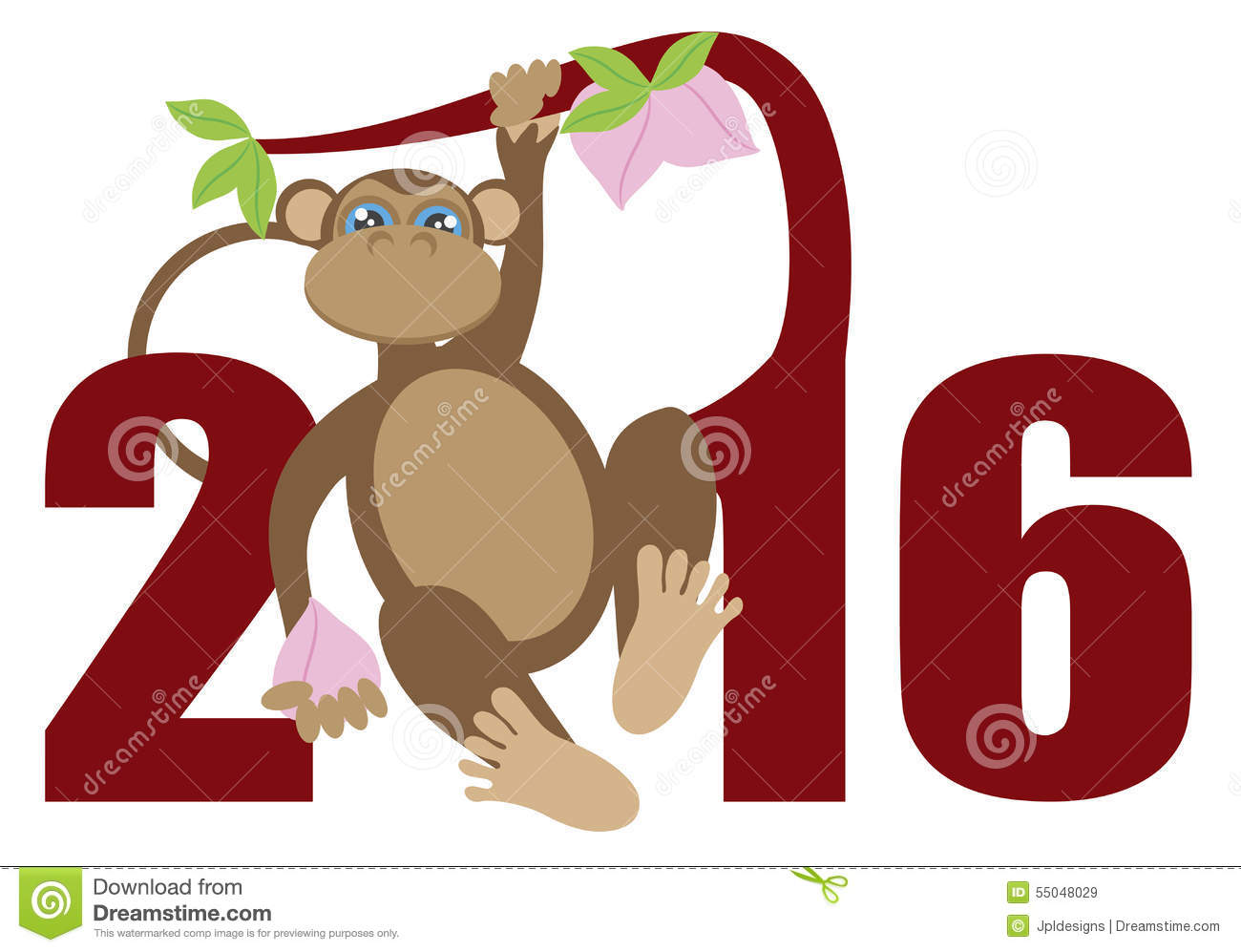 2016 Year Of The Monkey On Tree Numerals Illustration ...