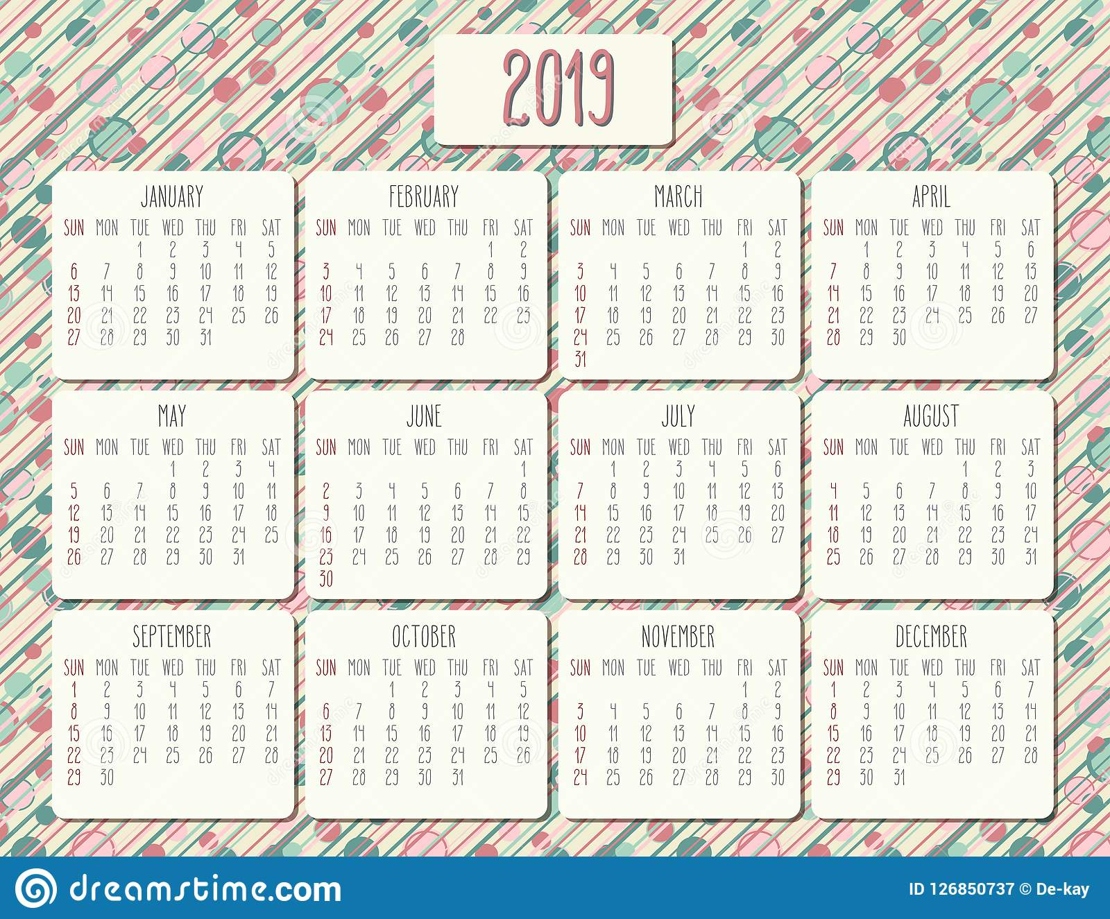 Funky Calendar February 2019 Year 2019 monthly calendar stock vector. Illustration of schedule