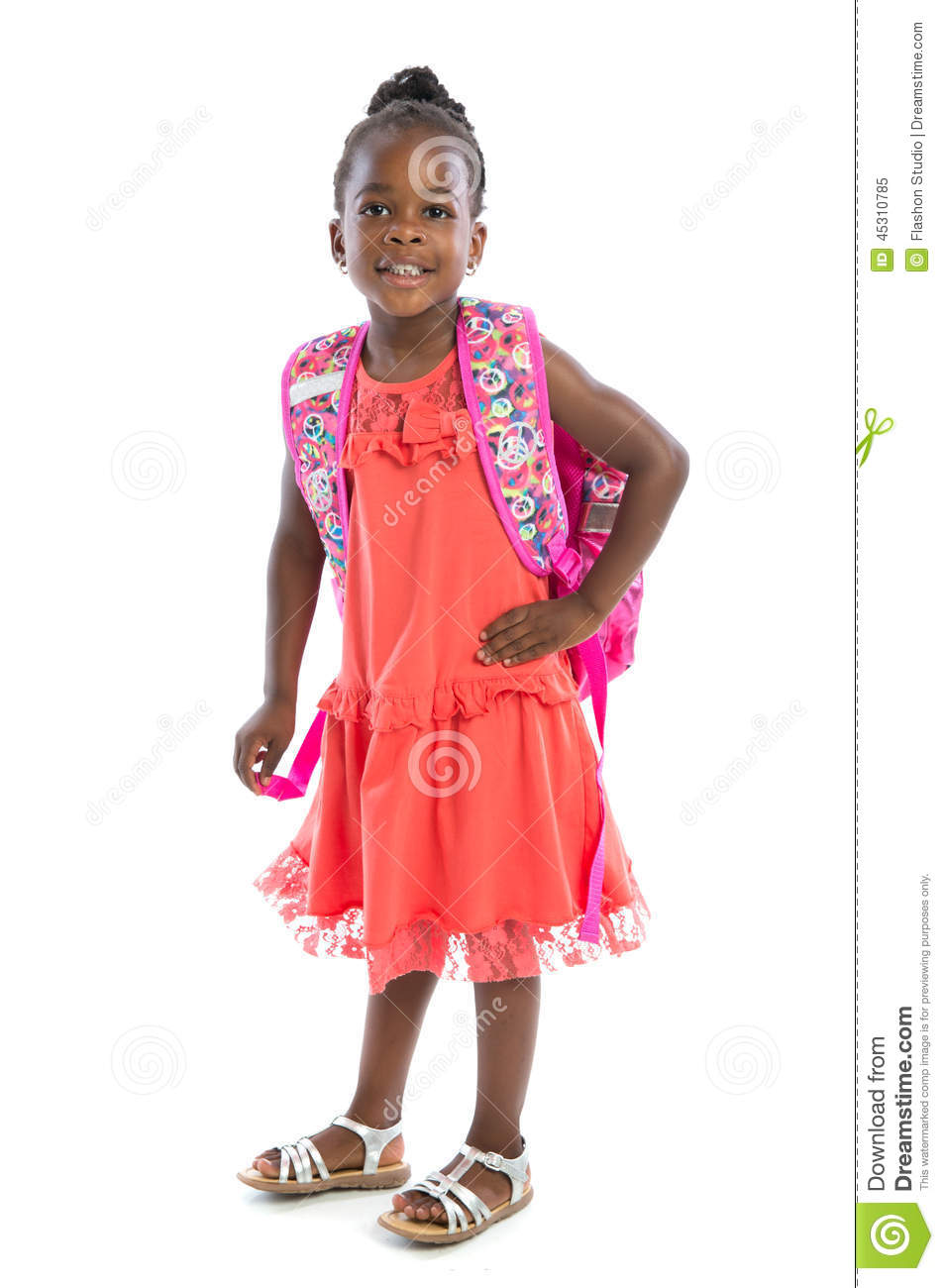 5 Year Old African American Girl Standing Wear Casual