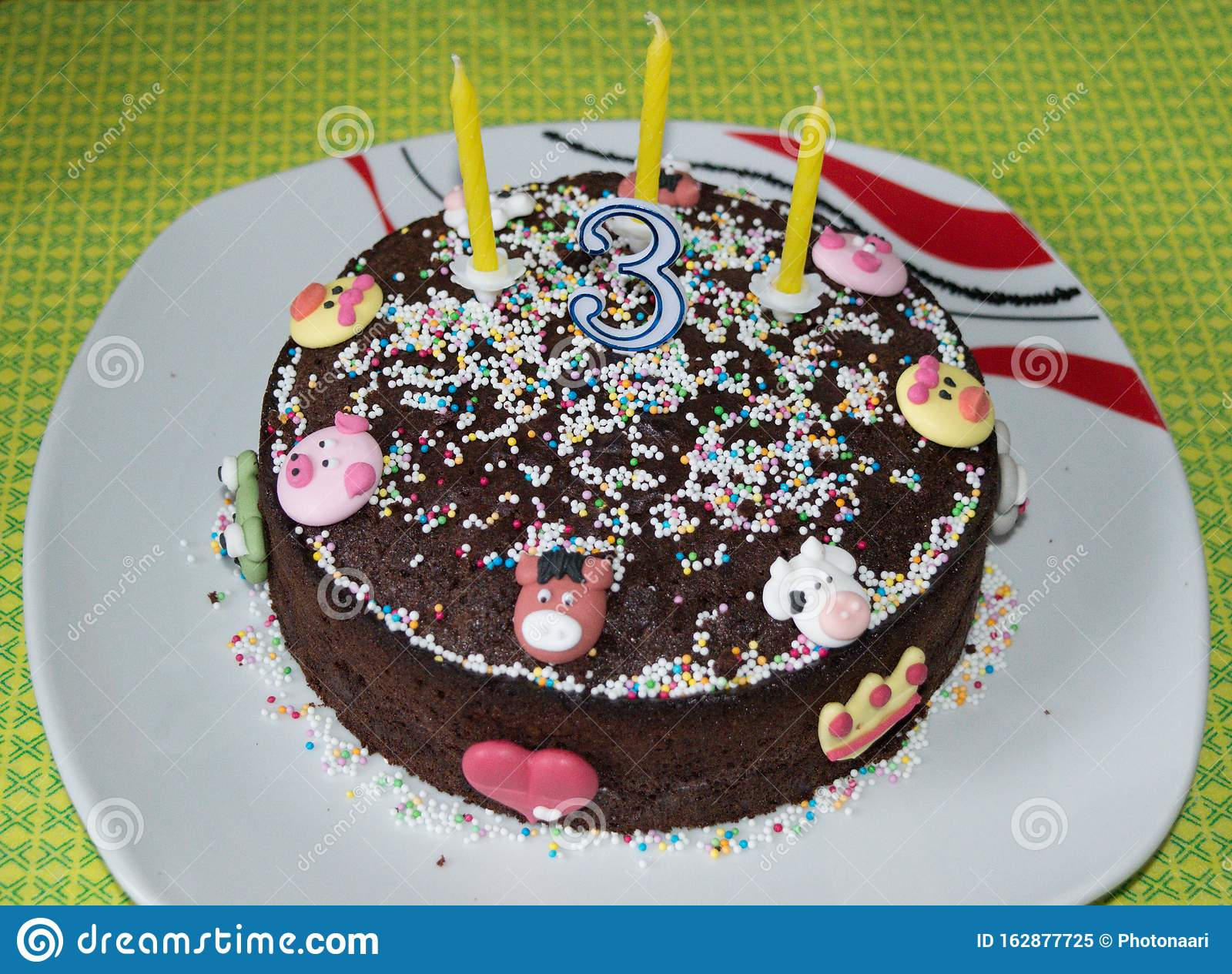 Astounding 3 Year Old Birthday Cake Stock Image Image Of Concept 162877725 Funny Birthday Cards Online Overcheapnameinfo