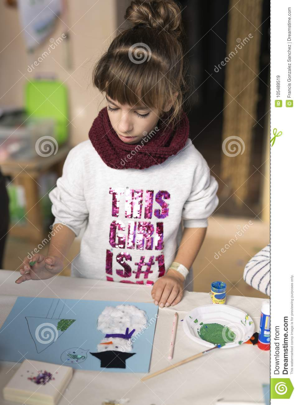 10 Year Old Girl Making A Christmas Craft Stock Image Image Of