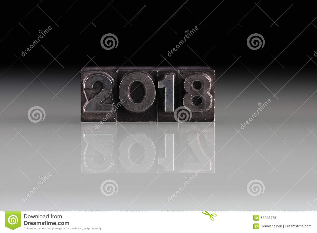 Metal Block Letters 2018 And 2017 Year In Old Metal Block Letters Stock Image  Image