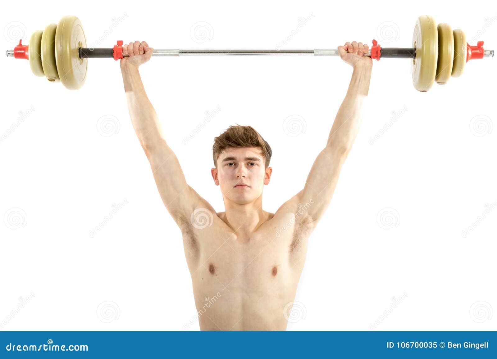 18 Year Old Teenage Boy Lifting Weights Stock Image - Image