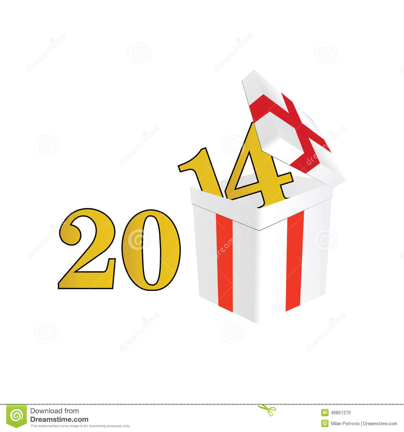 2014 year with a package and surprises vector