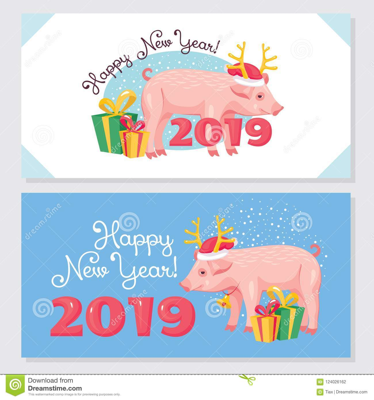 2019 Year Of The Pig Greeting Cards Stock Vector Illustration Of