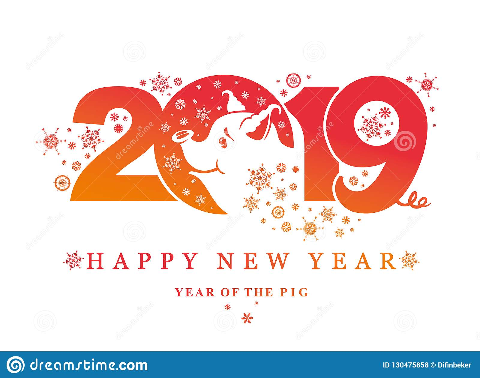 Year of the pig 2019 new year card with pattern 2019 and charming pig and snowflakes
