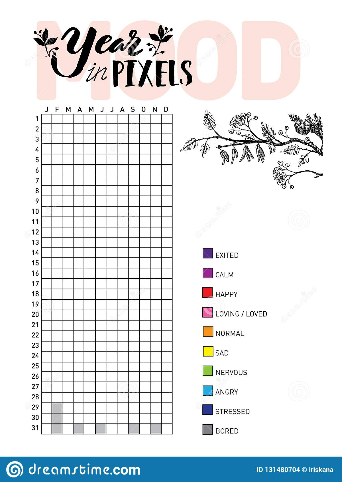 Year In Pixels Your Mood Habit Tracker Blank With Hand Written Cute Numbers And Lettering Bullet Journal Template Monthly Planer