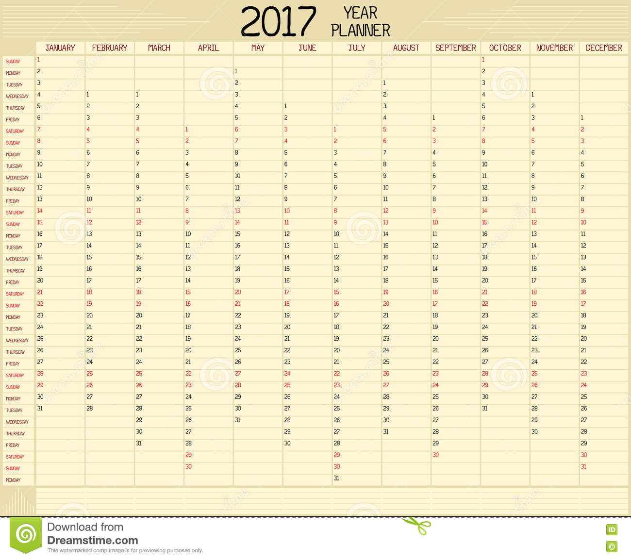 An annual planner calendar for the year 2017. A custom handwritten ...