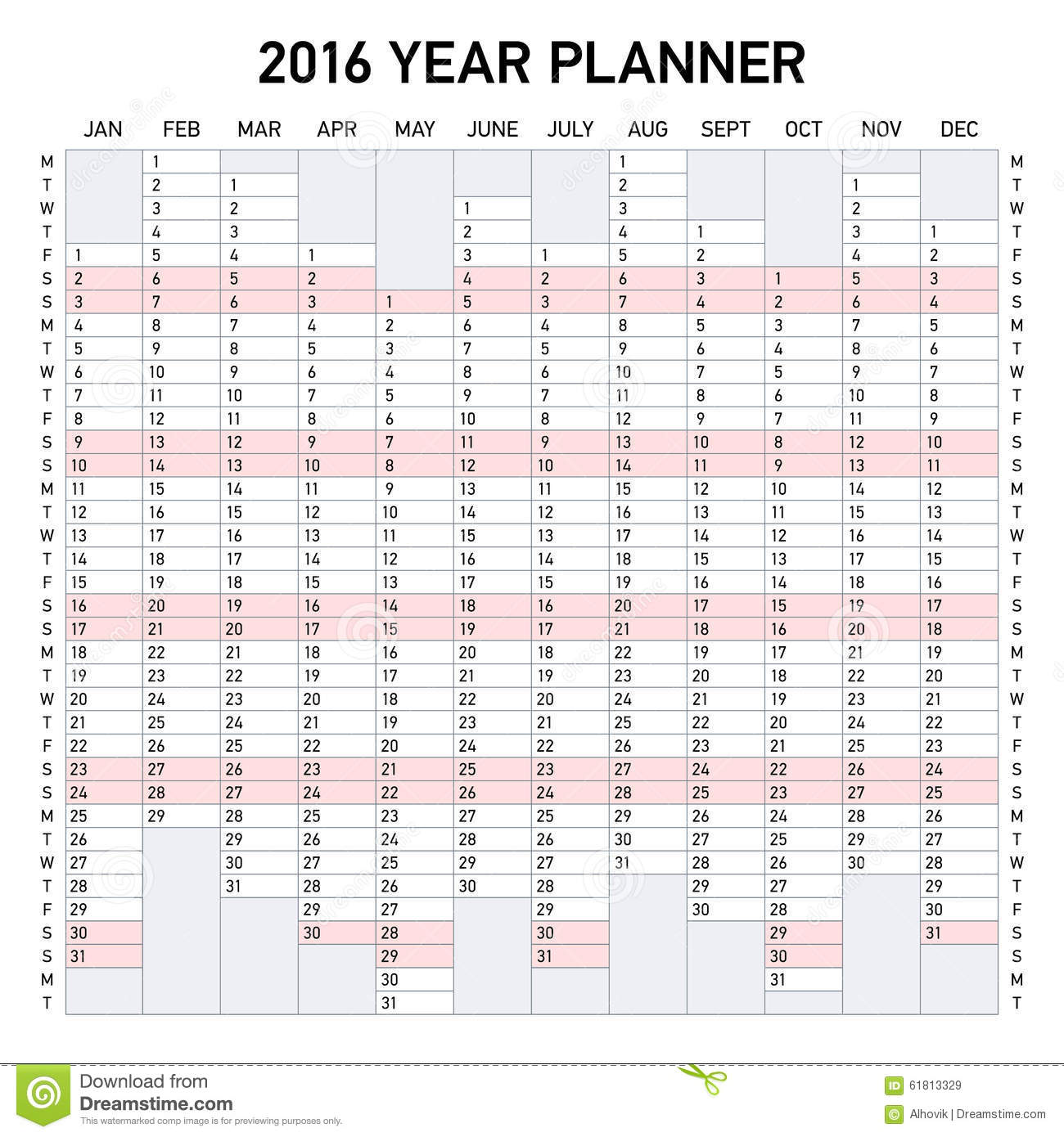 2016 Year Planner Stock Vector - Image: 61813329
