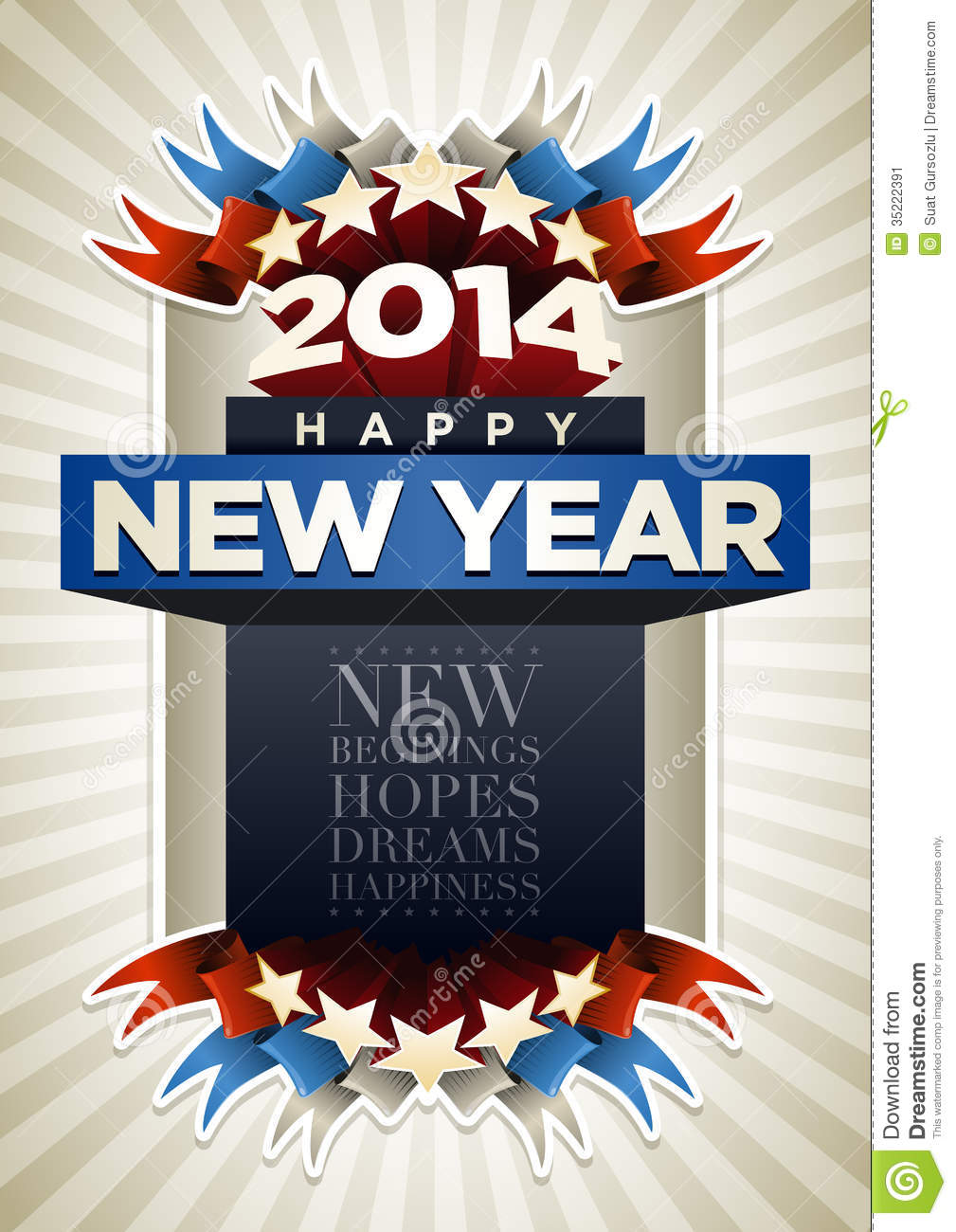 year 2014 poster stock image
