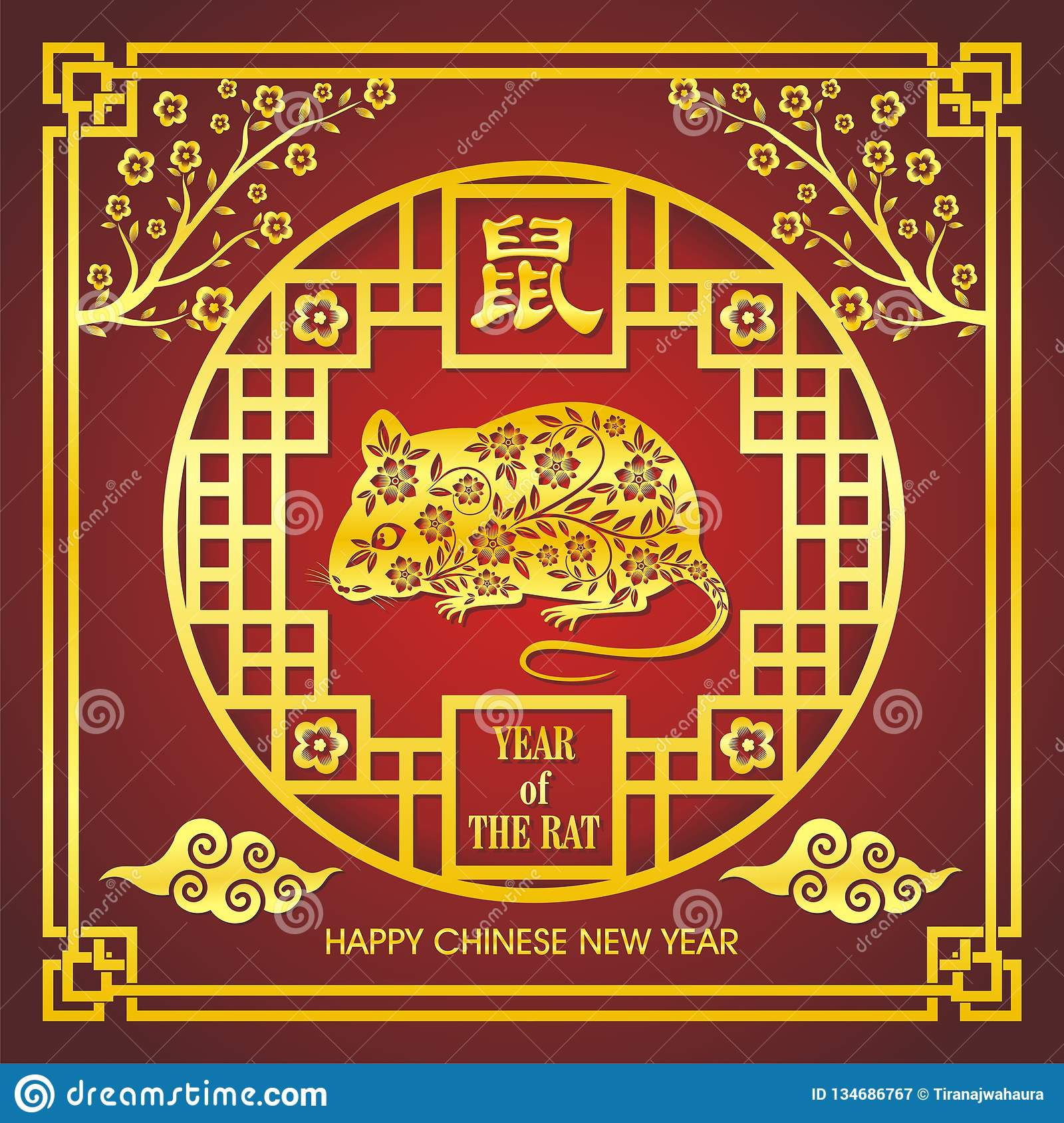 Year Of The Rat, Chinese New Year Vector Design Stock ...