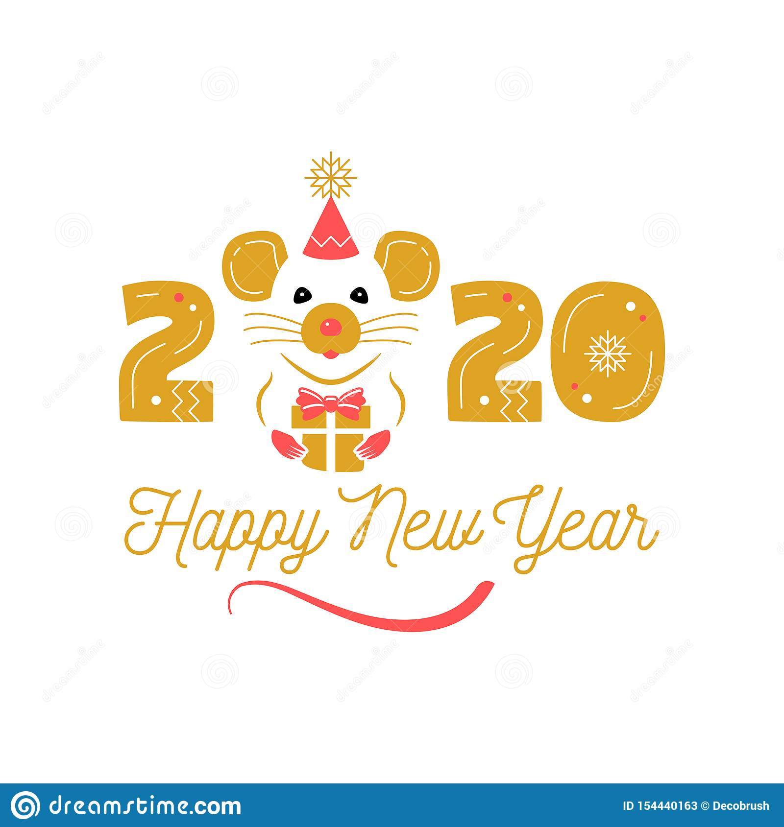 Year Of The Rat 2020 Chinese Zodiac. Happy New Year ...