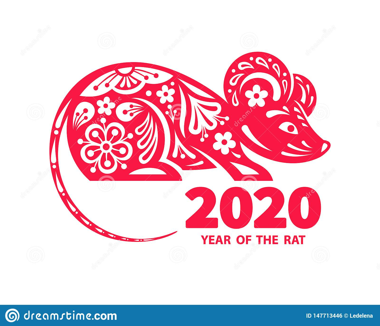 2020 Year of the RAT stock vector. Illustration of card ...