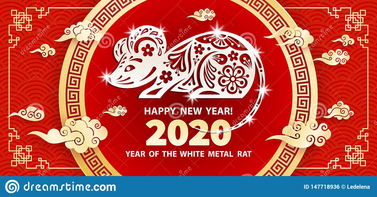 Chinese New Year Holiday 2020.2020 Year Of The Rat Stock Vector Illustration Of Asian