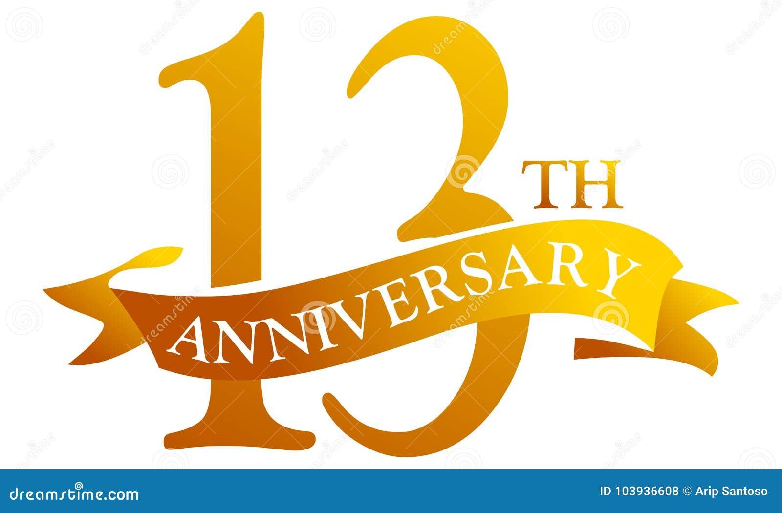 13 year ribbon anniversary stock vector illustration of isolated
