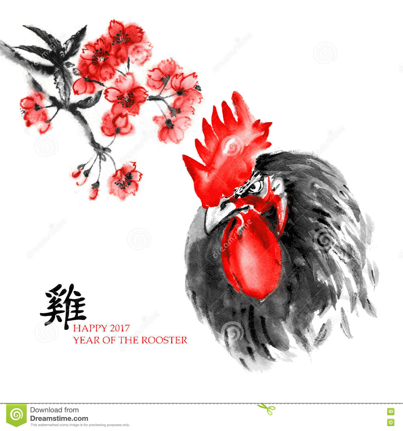 Year Of Rooster Sumi-e Card Stock Illustration - Illustration of ...