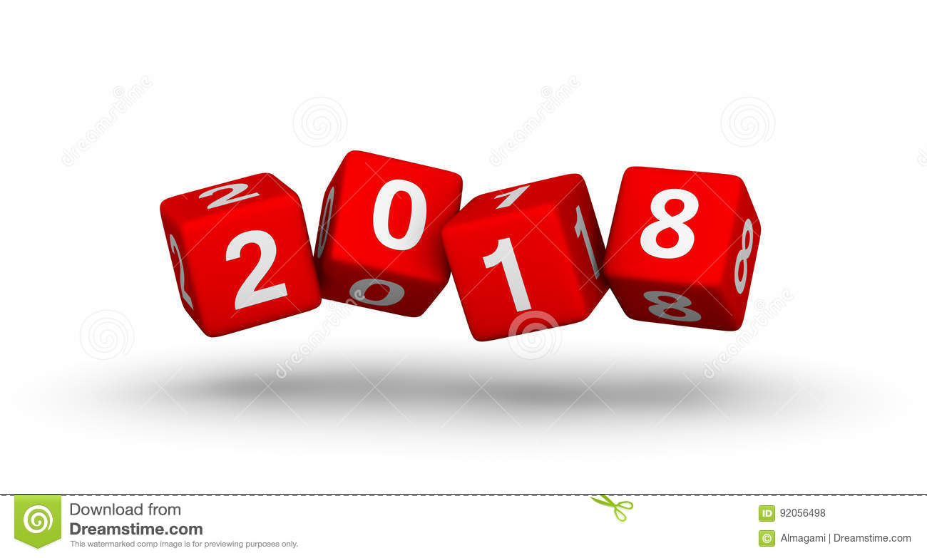 2018 Year Sign. Flying Baby Blocks With Number 2018. Stock