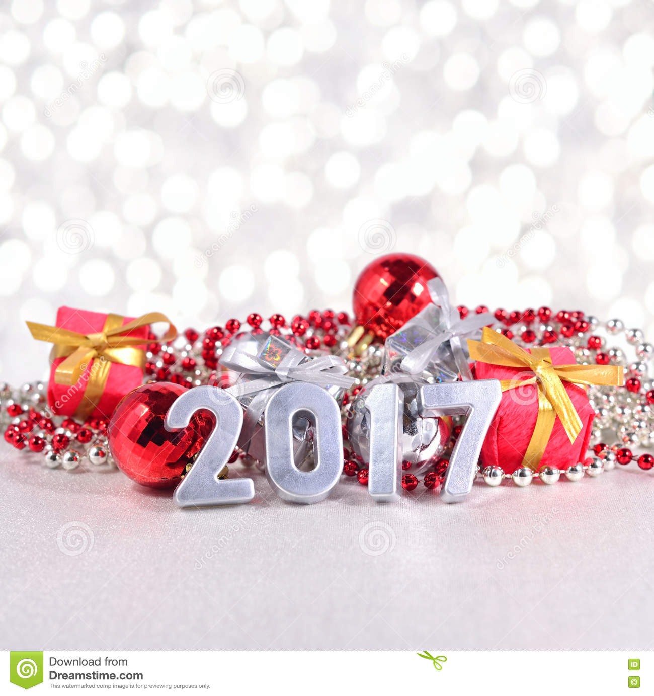 2017 year silver figures and christmas decorations stock for Decoration 2017