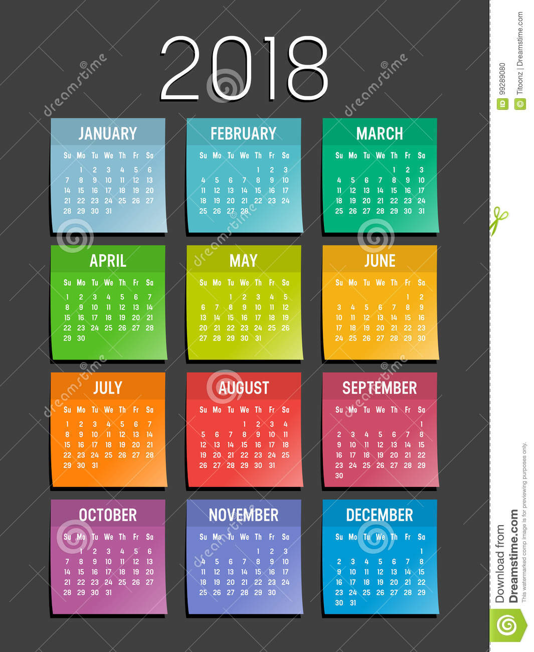 year 2018 sticky notes calendar stock vector illustration of