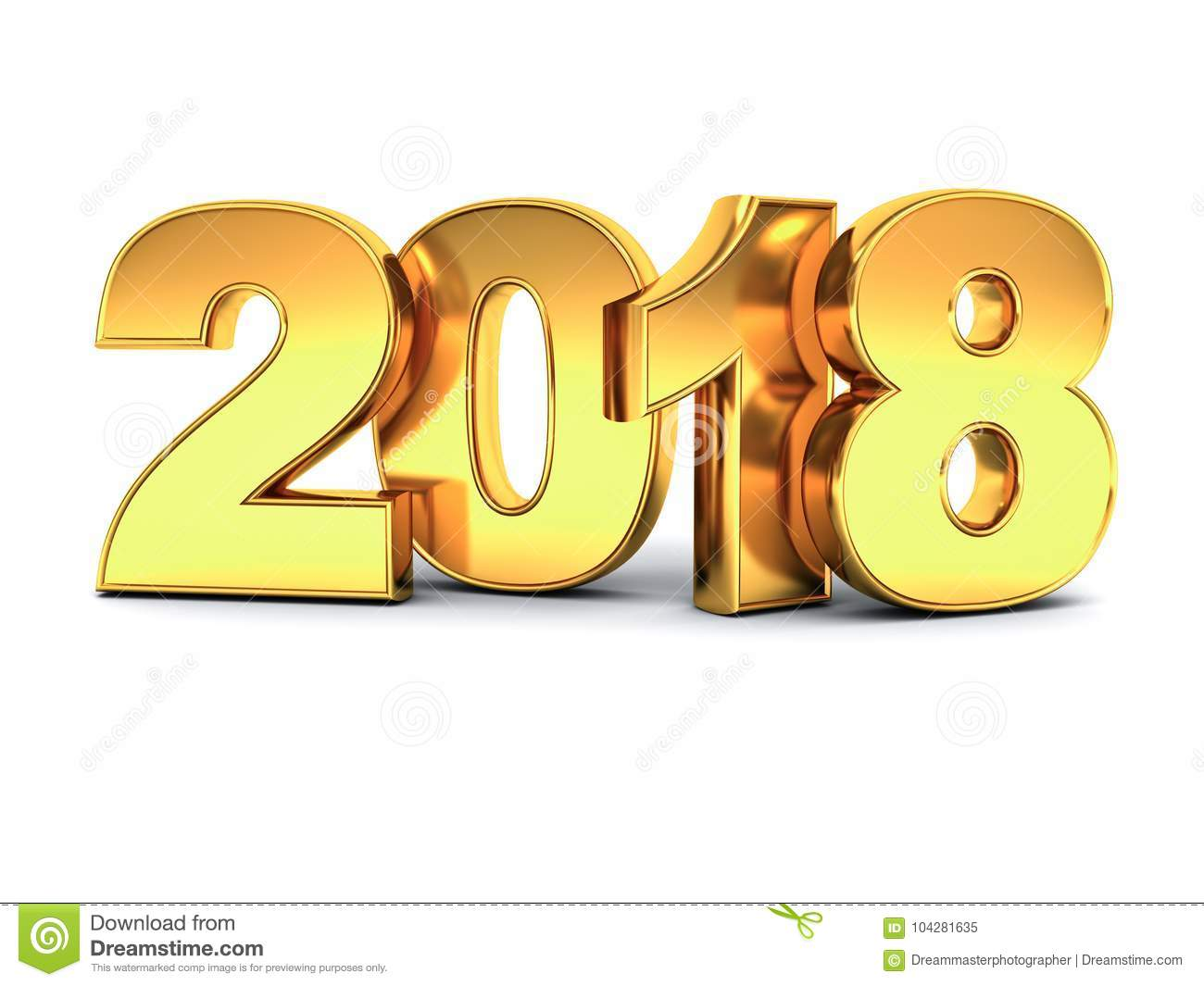 year two thousand eighteen happy new year 2018 3d gold text isolated over white
