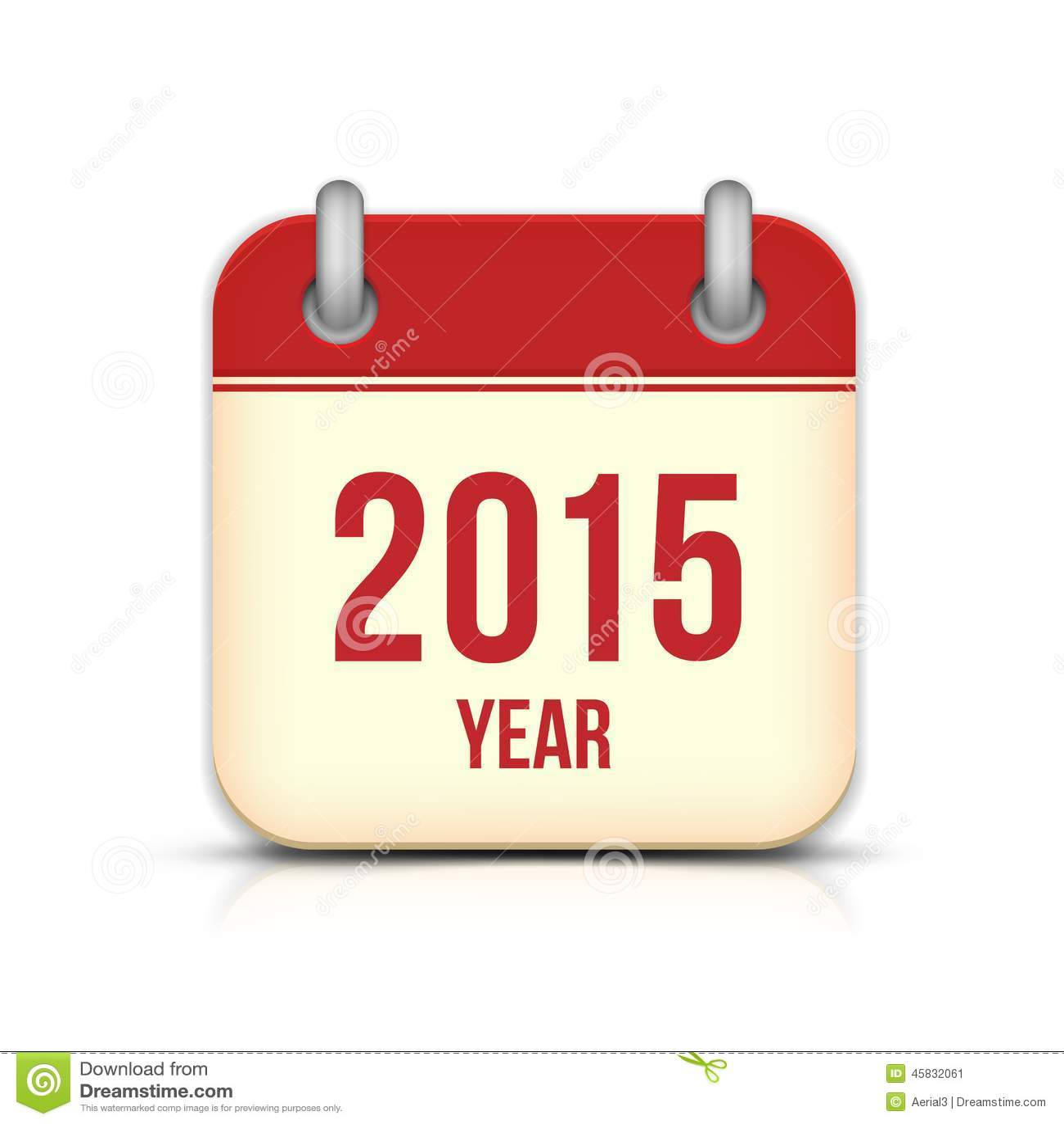 Year Calendar App : Year vector calendar app icon with reflection stock