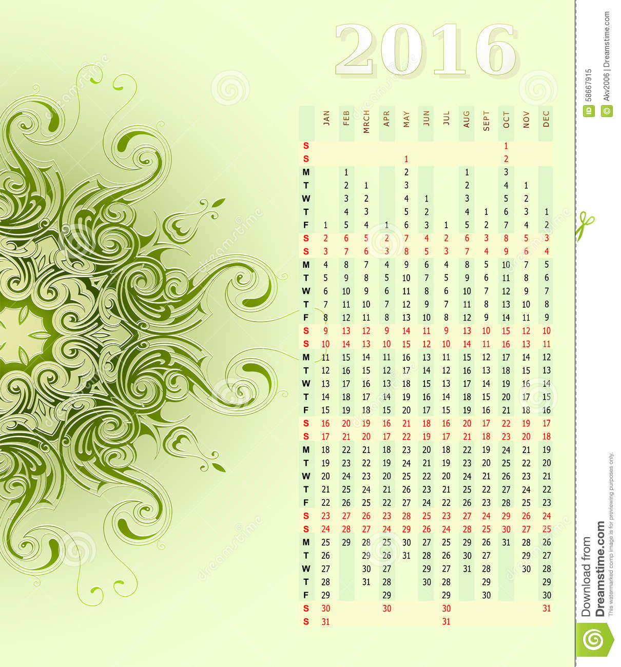 Vertical Calendar Design : Year vertical calendar design stock vector image