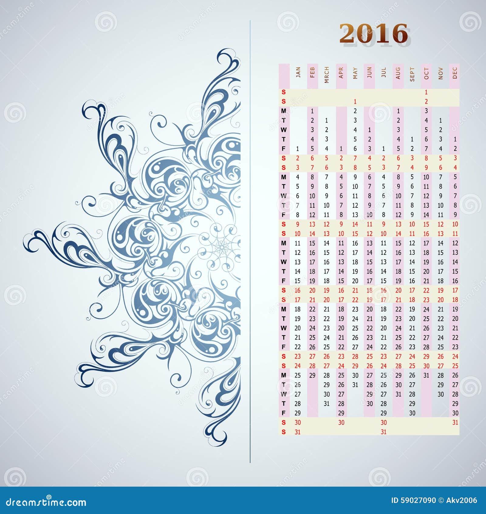 year 2016 vertical calendar stock vector illustration of january