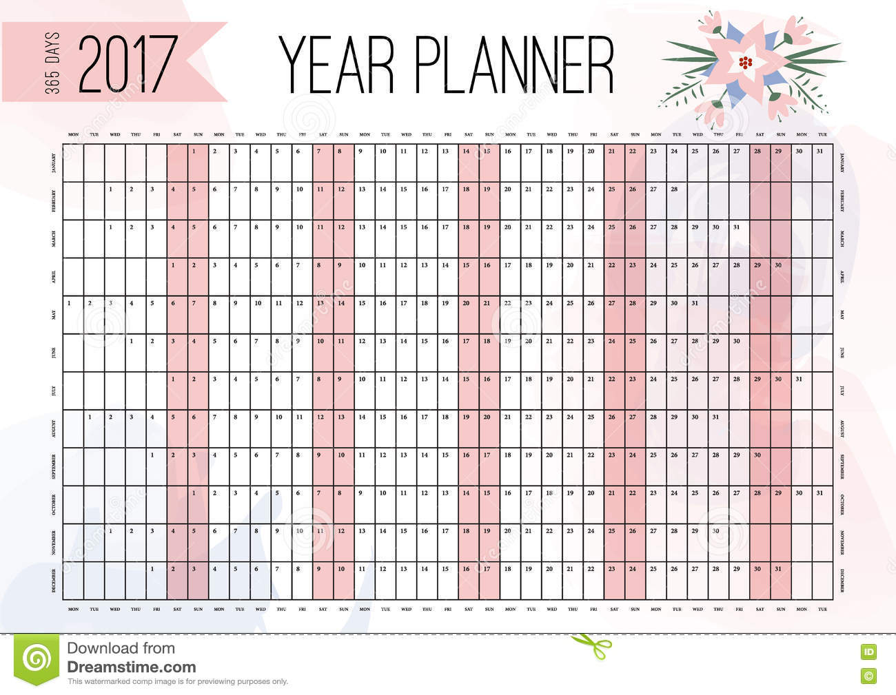 2017 wall planner cartoon vector 81315221 for Dreams by design planner