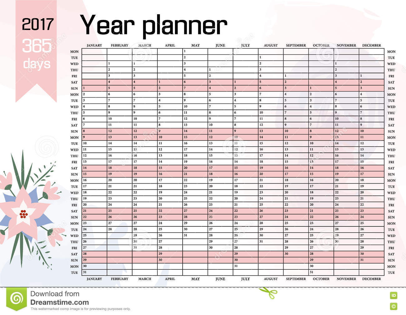photograph relating to Yearly Planner Template identify Yr Wall Planner. Program Out Your Total With This 2017