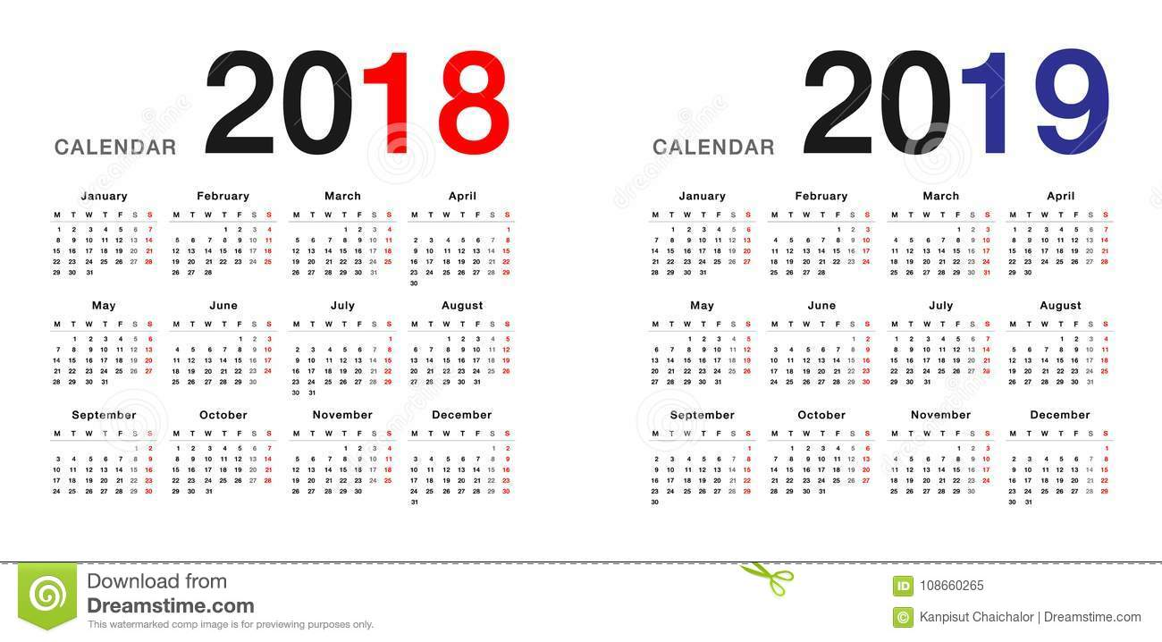 year 2018 and year 2019 calendar design template simple and clean design