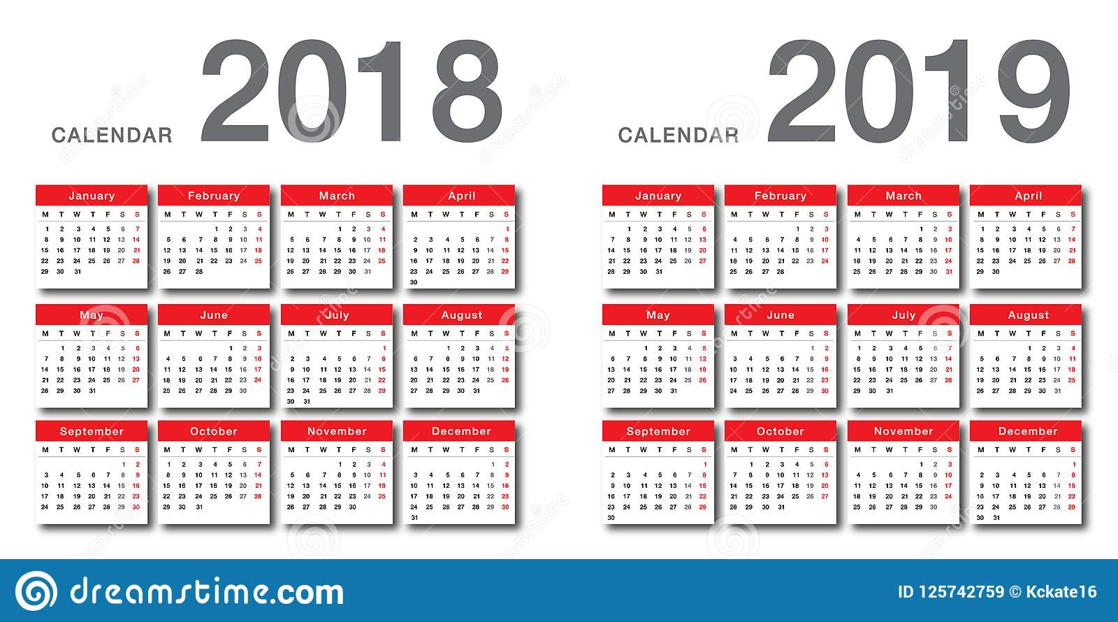 year 2018 and year 2019 calendar vector design template simple and clean design