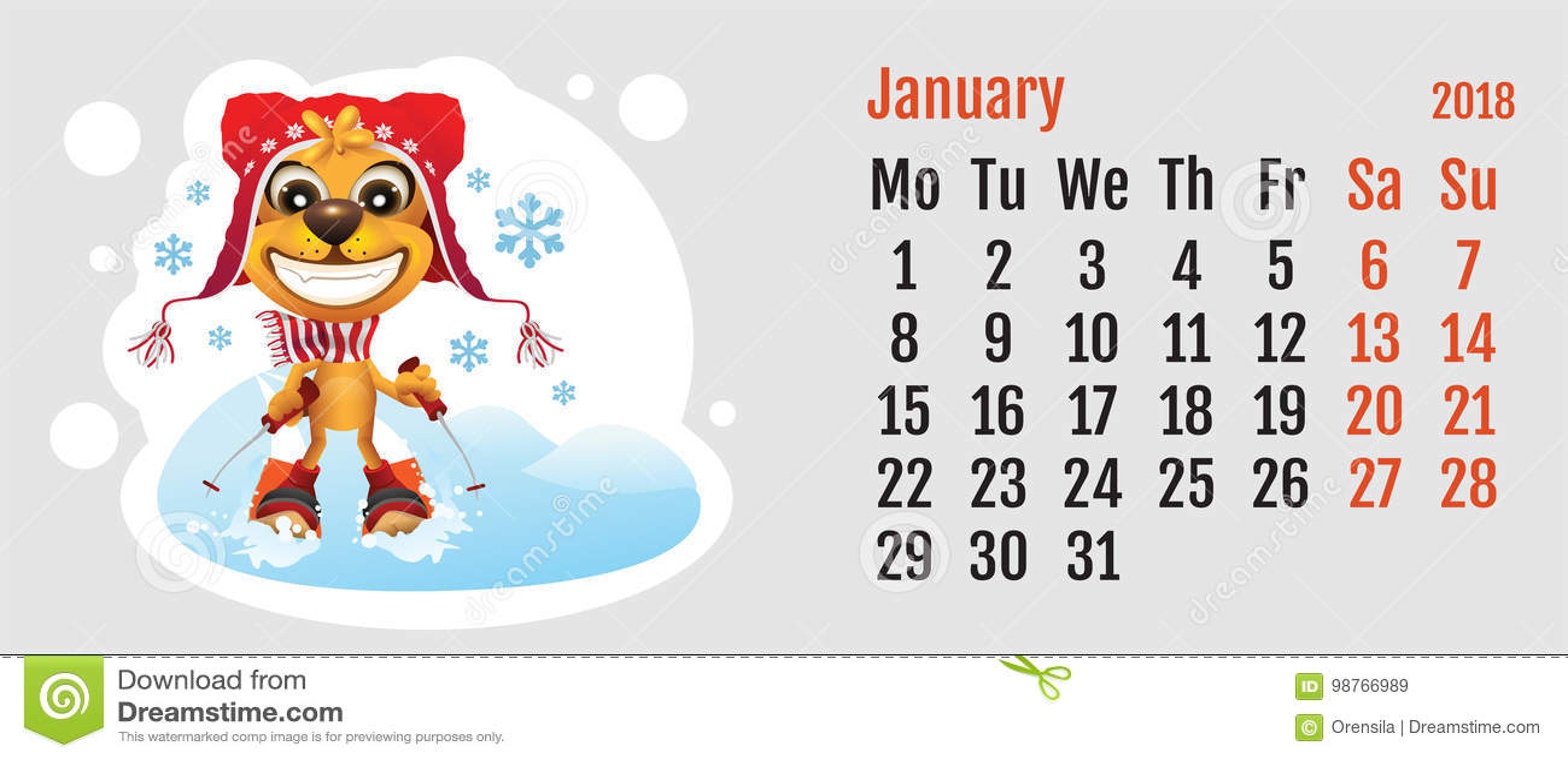 2018 Year Of Yellow Dog On Chinese Calendar. Fun Dog Skier ...