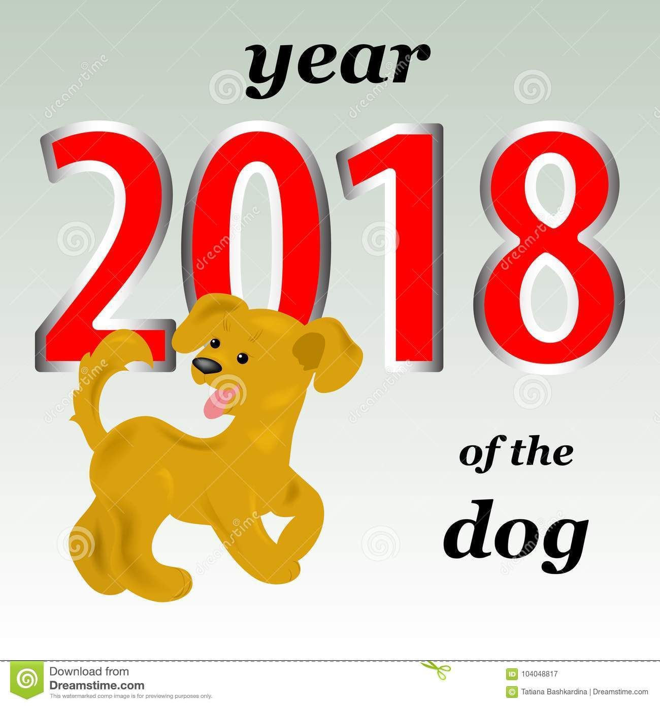 2018 year of the yellow dog in the eastern calendar. A cheerful