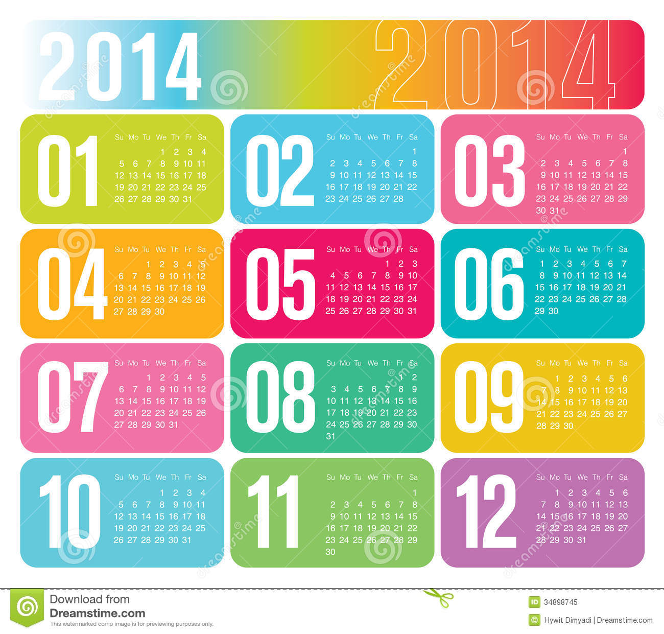 Calendar Illustration Template : Yearly calendar stock vector image of office