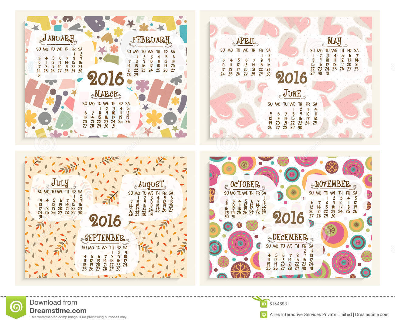 yearly calendar set for happy new year 2016 stock illustration