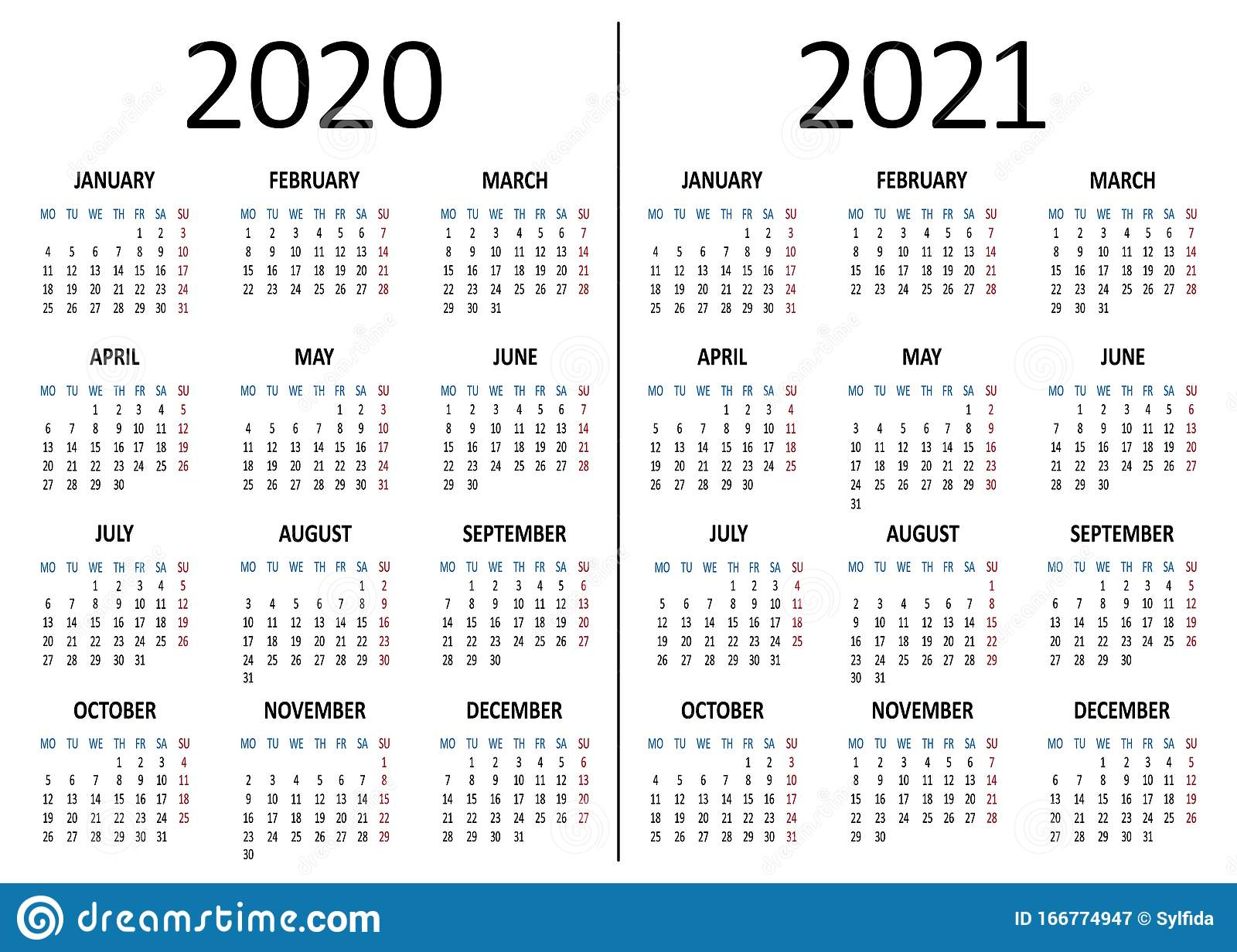 Yearly Calendar 2020, 2021. Week Starts From Monday. Vector Stock