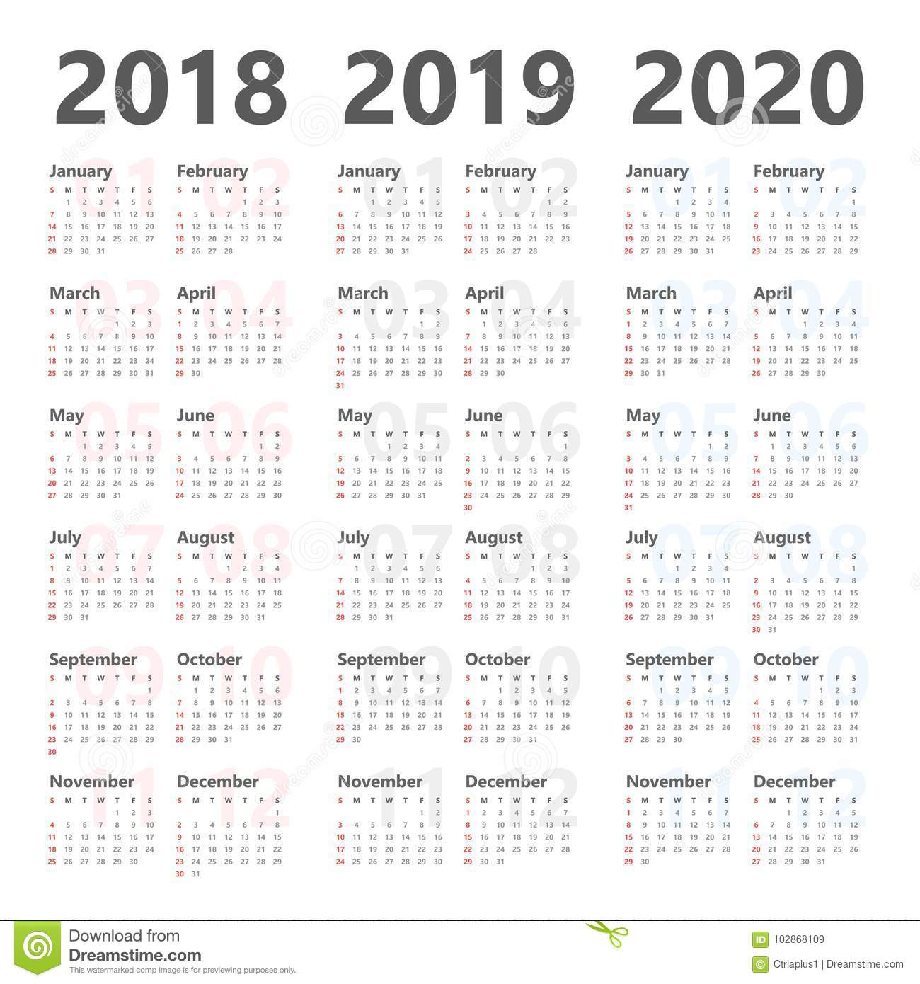 yearly wall calendar planner for next 3 years 2018 to 2020 vector template